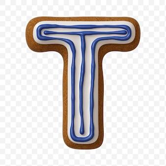 Lettera t di alfabeto fatta di biscotto di pan di zenzero di colore isolato