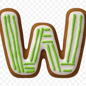 Lettera w di alfabeto fatta di biscotto di pan di zenzero di colore isolato