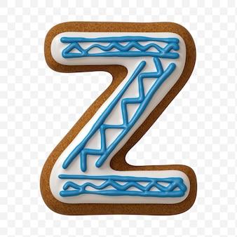 Lettera z di alfabeto fatta di biscotto di pan di zenzero di colore isolato