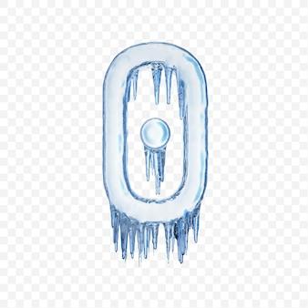 Alfabeto numero 0 fatto di ghiaccio fondente blu isolato su sfondo trasparente