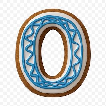Alfabeto numero 0 fatto di biscotto di pan di zenzero di colore isolato