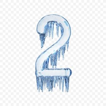 Alfabeto numero 2 fatto di ghiaccio fondente blu isolato su sfondo trasparente