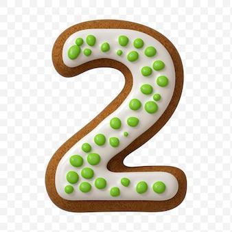 Alfabeto numero 2 fatto di biscotto di pan di zenzero di colore isolato