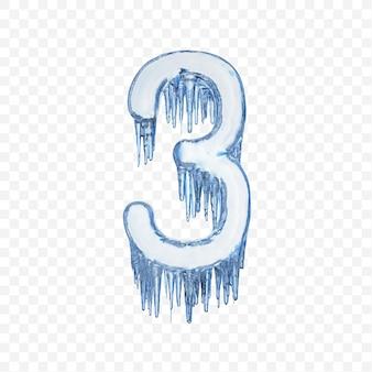 Alfabeto numero 3 fatto di ghiaccio fondente blu isolato su sfondo trasparente