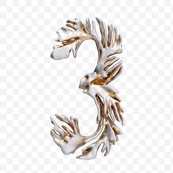 Alfabeto numero 3 fatto di corallo moderno dorato isolato