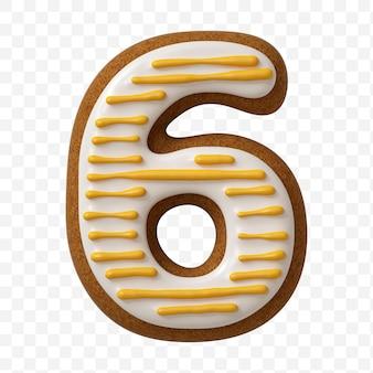 Alfabeto numero 6 fatto di biscotto di pan di zenzero di colore isolato
