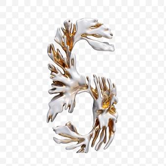 Alfabeto numero 6 fatto di corallo moderno dorato isolato