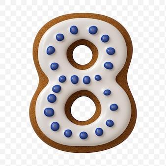 Alfabeto numero 8 fatto di biscotto di pan di zenzero di colore isolato