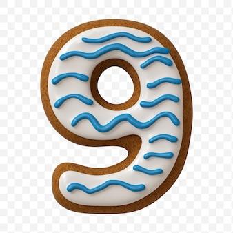 Alfabeto numero 9 fatto di biscotto di pan di zenzero di colore isolato