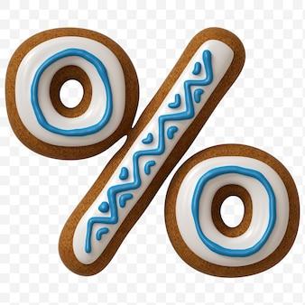 Segno di percentuale di alfabeto fatto di biscotto di pan di zenzero di colore isolato