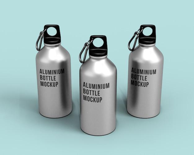 Mockup di bottiglie di alluminio