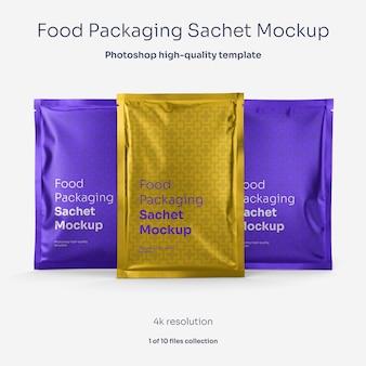 Mockup di bustina di imballaggio alimentare in alluminio
