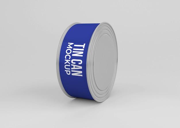 Mockup di lattina per alimenti in alluminio isolato
