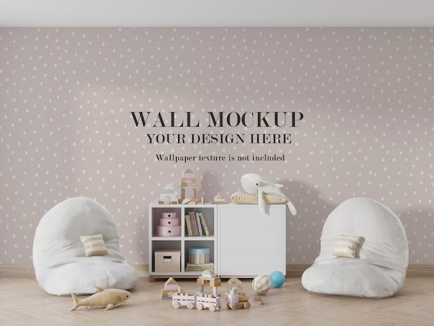 Incredibile mockup della parete della stanza dei bambini con accessori