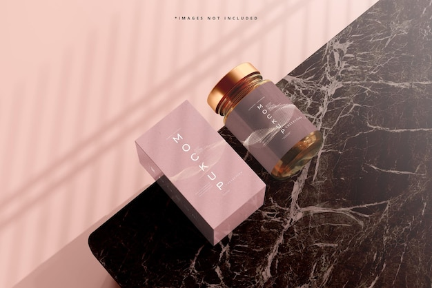 Mockup di vasetto e scatola per cosmetici in vetro ambrato