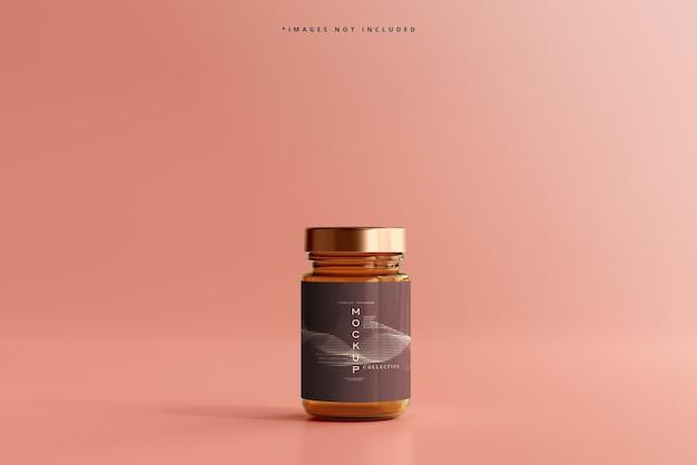 Mockup di vasetto cosmetico in vetro ambrato
