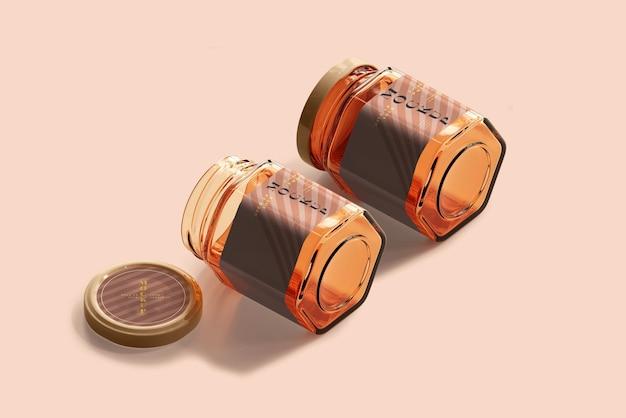 Mockup di barattolo di vetro ambrato