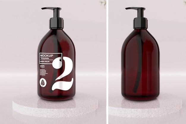 Amber soap bottle mockup design in 3d rendering