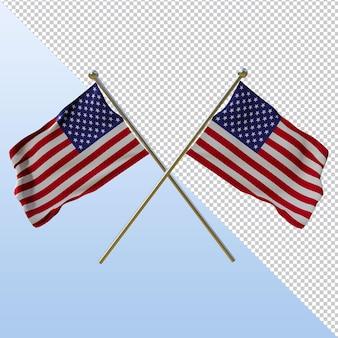 Bandiera americana 3d rendering design