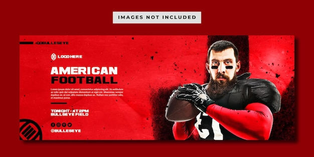 Modello di banner facebok football americano