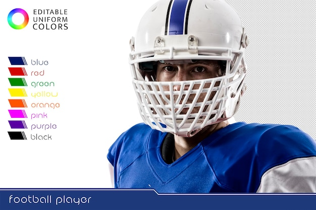 Giocatore di football americano con diverse divise colorate tagliate
