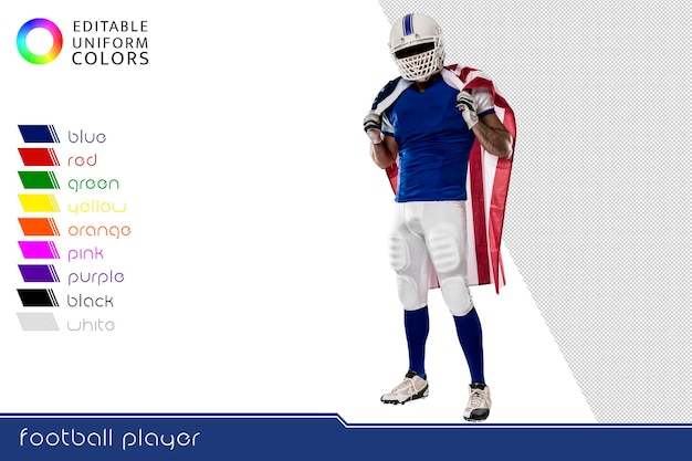 Giocatore di football americano con diverse divise colorate