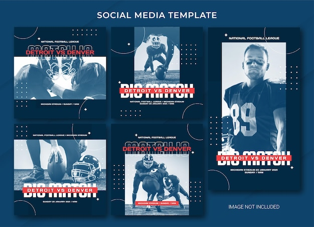 Modello di bundle post sui social media di football americano