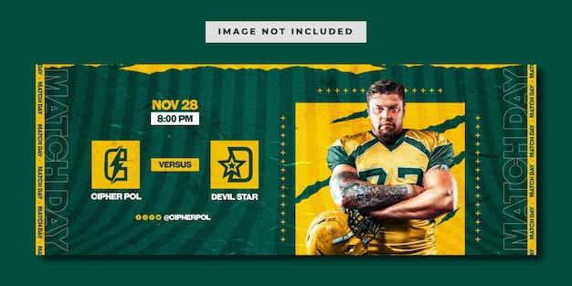 Modello di banner per social media sport football americano