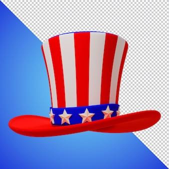 Rendering 3d di giorno dell'indipendenza americana del cappello