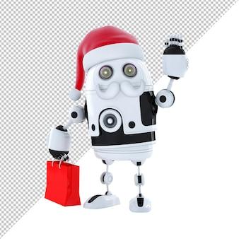 Robot android con il cappello di babbo natale e una borsa della spesa isolato su bianco