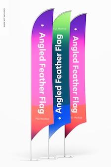 Mockup di bandiere con piume angolate, vista da sinistra