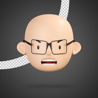 Faccia arrabbiata del personaggio del ragazzo con gli occhiali