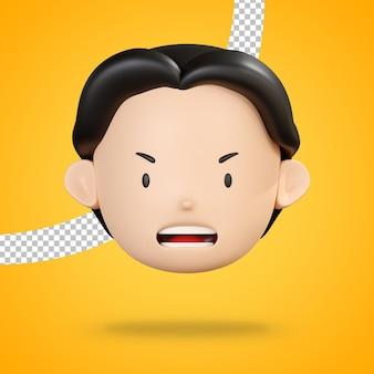 Faccia arrabbiata dell'uomo carattere emoji