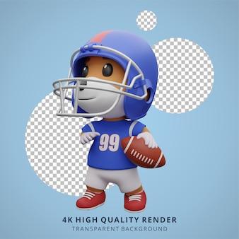 Animale cane giocatore di football americano illustrazione 3d simpatico personaggio