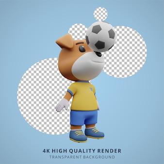 Animal dog football o soccer player 3d simpatico personaggio illustrazione