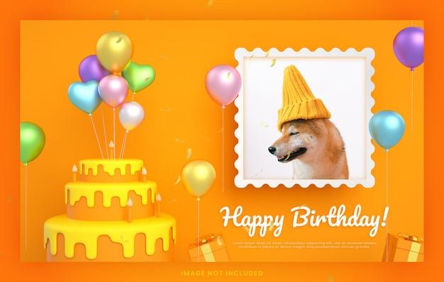 Biglietto d'invito per torta di buon compleanno con cane animale per modello di post sui social media di instagram con mockup