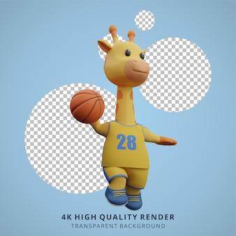 Giraffa animale che gioca a basket 3d simpatico personaggio illustrazione