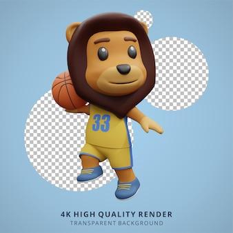 Cucciolo di leone animale che gioca a basket 3d simpatico personaggio illustrazione