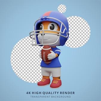 Tigre animale giocatore di football americano 3d illustrazione di simpatico personaggio