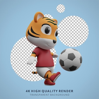 Animal tiger football o soccer player 3d simpatico personaggio illustrazione