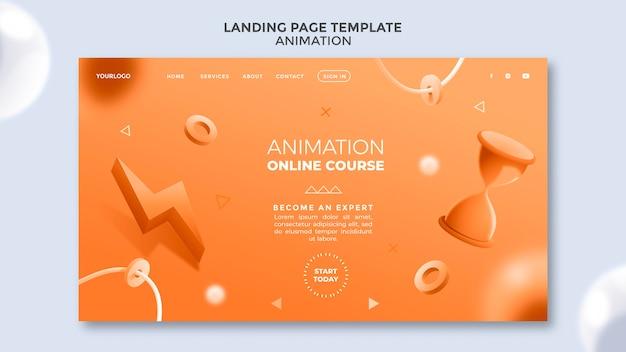 Pagina di destinazione del corso di animazione