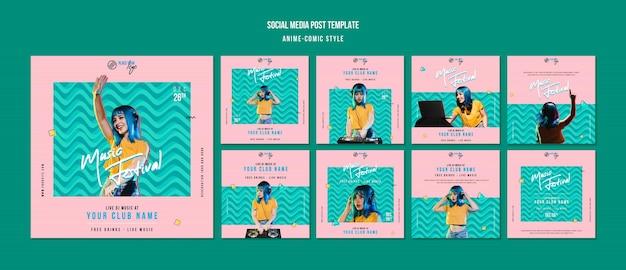 Modello di post sui social media in stile fumetto anime