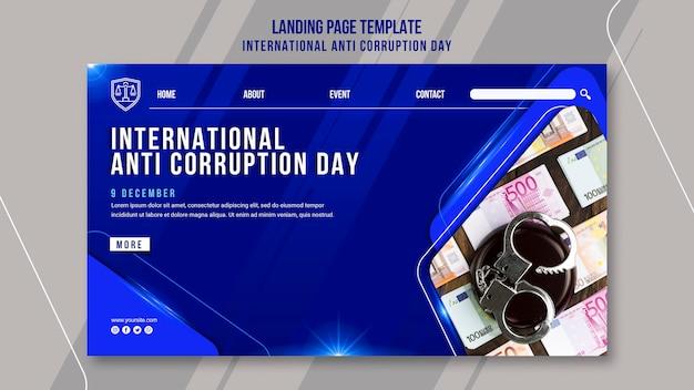 Modello di pagina di destinazione del giorno contro la corruzione