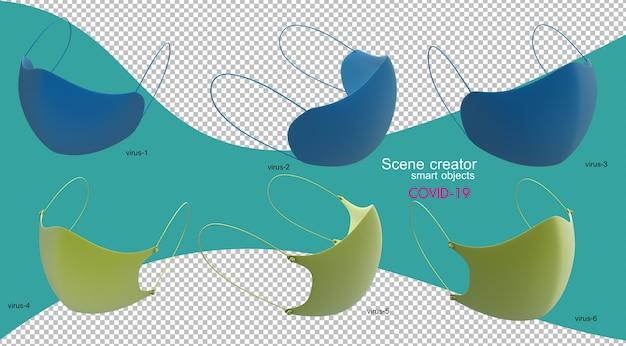 Illustrazione 3d della maschera antivirus isolata