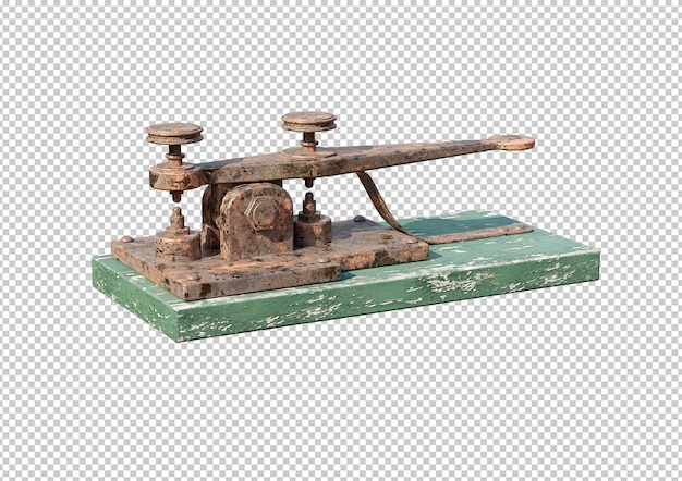 Macchina telegrafica elettrica antica isolata su priorità bassa bianca. rendering 3d