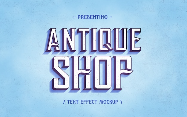 Mockup effetto testo vintage negozio antico