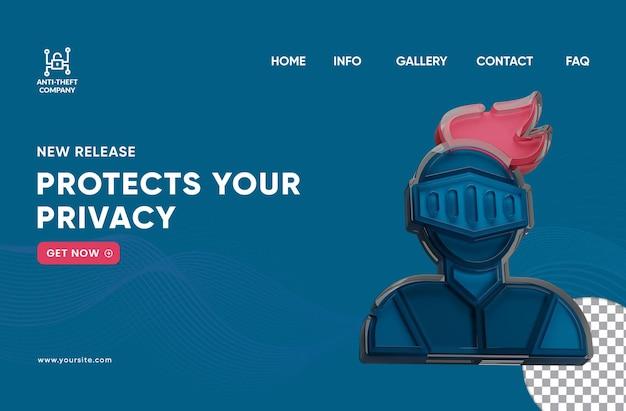 Pagina di destinazione modificabile di sicurezza antifurto con icona del cavaliere di vetro trasparente resa 3d