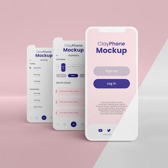 Mock-up dell'interfaccia dell'app sulla composizione dello schermo del telefono