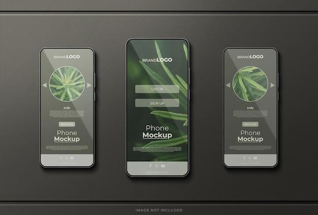 Mockup dell'interfaccia dell'app sullo schermo del telefono
