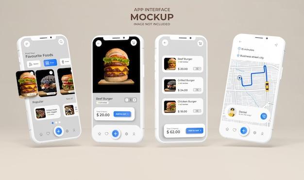 Interfaccia dell'app con visualizzazione del menu del cibo sul modello dello schermo del telefono